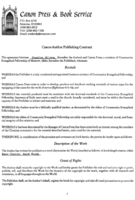 Canon Press Contract, page 1
